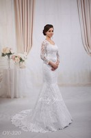 Luxury mermaid wedding dress French Lace 3/4 length sleeves opened back long tail Plus Size