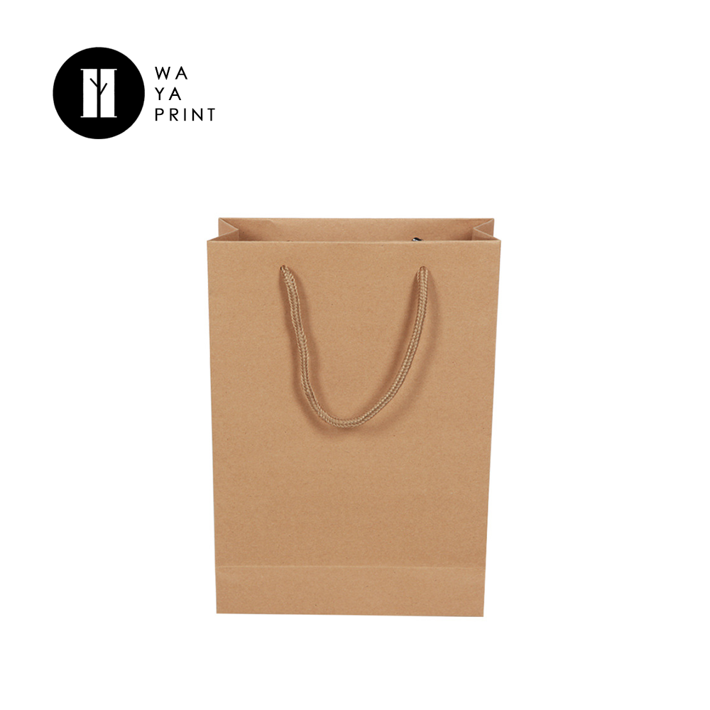 Wholesale plain portable cheap brown kraft paper bags with handles