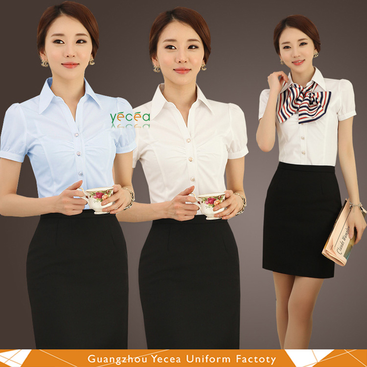 2016 Soft chiffon/cotton brief business Bank Office Shirt with Corsage for OL /sellers/insurance women wholesale logo customize
