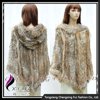 CX-B-116A Women Fashion Knitting Rabbit Fur Shawl