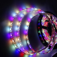 SK6812-RGBW(warm white) DC5V led addressable strip;60leds/m with 60pixels/m;waterproof in silicon coating;4m long;WHITE PCB