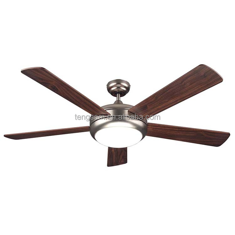 China supply 52 inch 5 plywood blades big wind ceiling fan with light