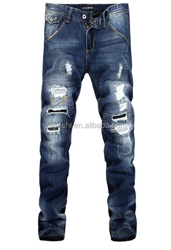 European Style Top Quality Men Fashion Ripped Jeans