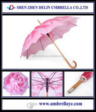 Auto open wooden shaft and handle pink flower rain on umbrella