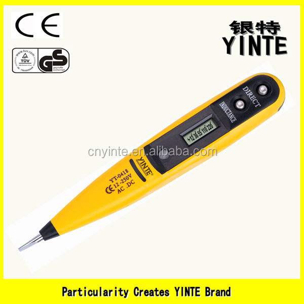 China factory digital LCD display voltage tester pen screwdriver type tester with two color plastic injection and Gold PCB