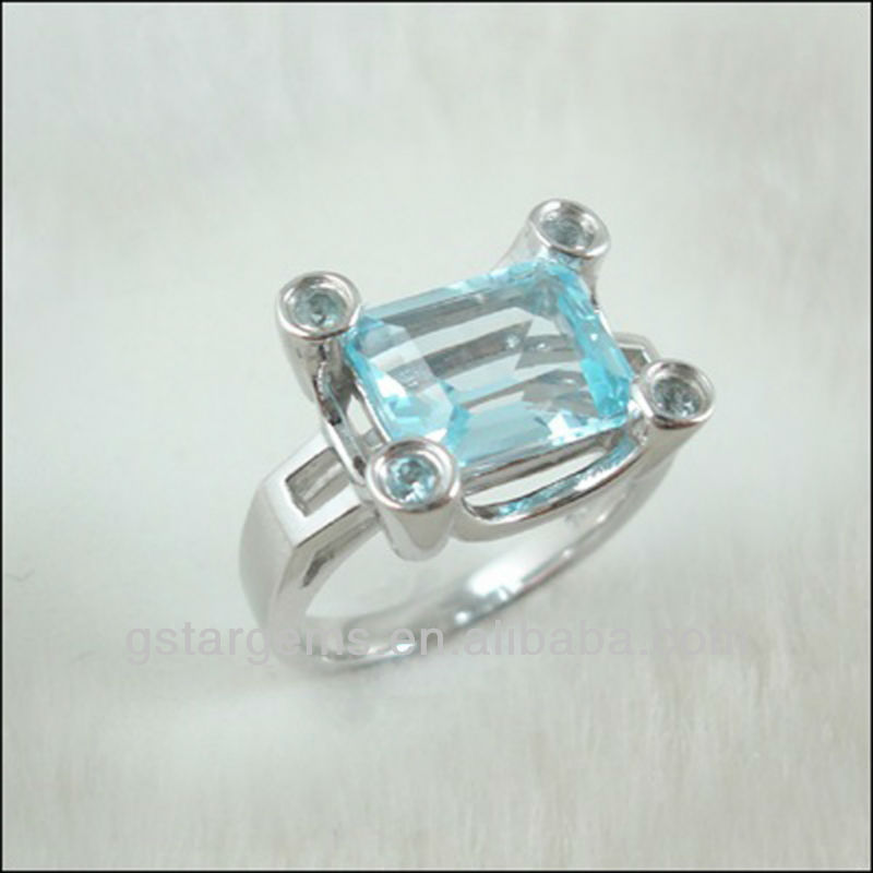 White Gold Plating Womens White Cubic Zirconia And blue topaz Ring