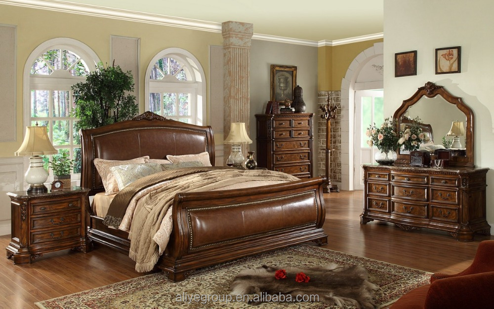 MM04- antique reproduction wood bed/antique sleigh beds king size