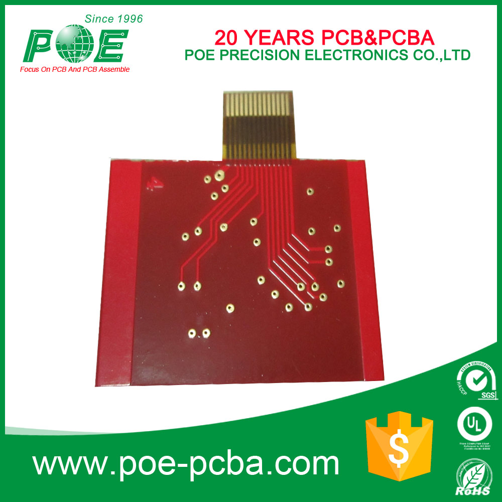 Red soldermask 94v0 pcb board/fr-4 pcb with gold finger