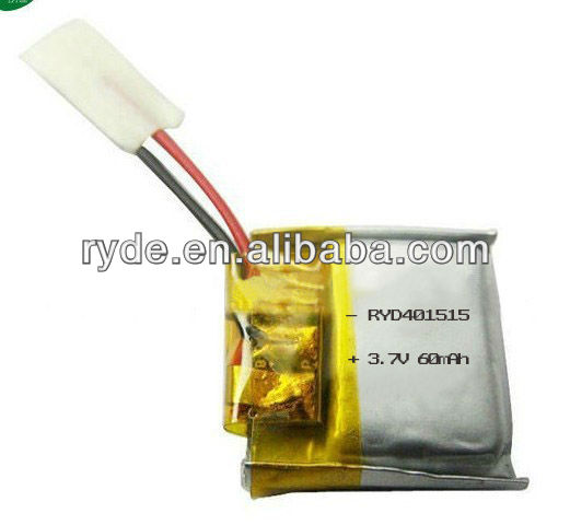 60mAh 3.7V mini Lithium Polymer Rechargeable Battery 401515