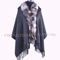 CX-B-P-50 Genuine Wool Large Shawl Scarf Pashminas And Scarf With Fox Trim