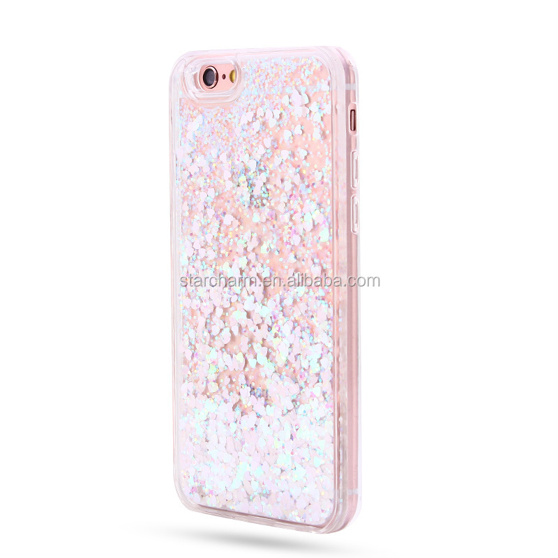 Mobile phone back cover liquid 3D cute crystal clear glitter professional case moving for Samsung galaxy s7