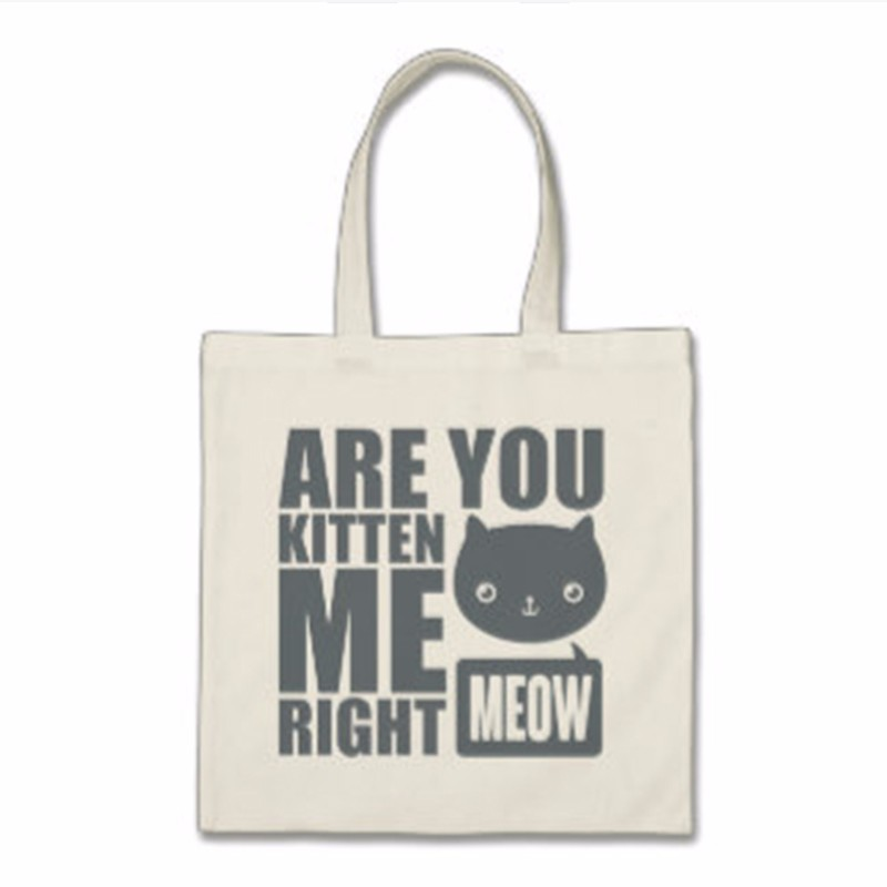 cotton canvas material cat printed handle style shopping tote bag