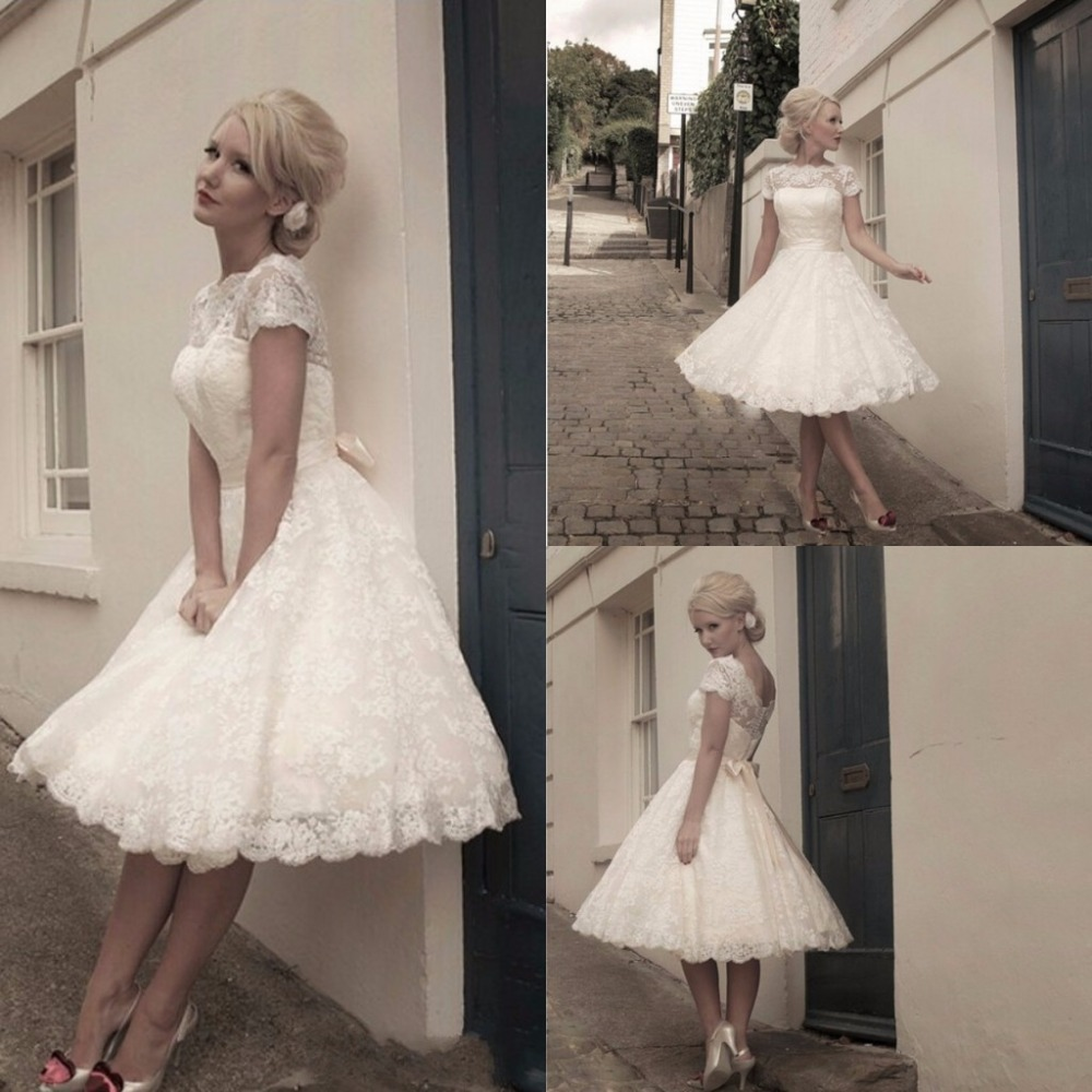 ZH1512G Cheap Lace Cap Sleeves A Line Wedding Dresses with Sash Knee Length Short Summer Beach Bridal Gown