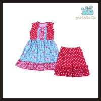 New fashion baby girl clothes set children frocks designs fancy printing polka dots girls ruffle outfits online store