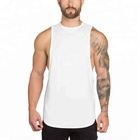 Wholesale curved hem drop armhole dri fit men tank top fitness clothing