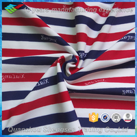red blue white striped polyester lycra stretch swimwear fabric