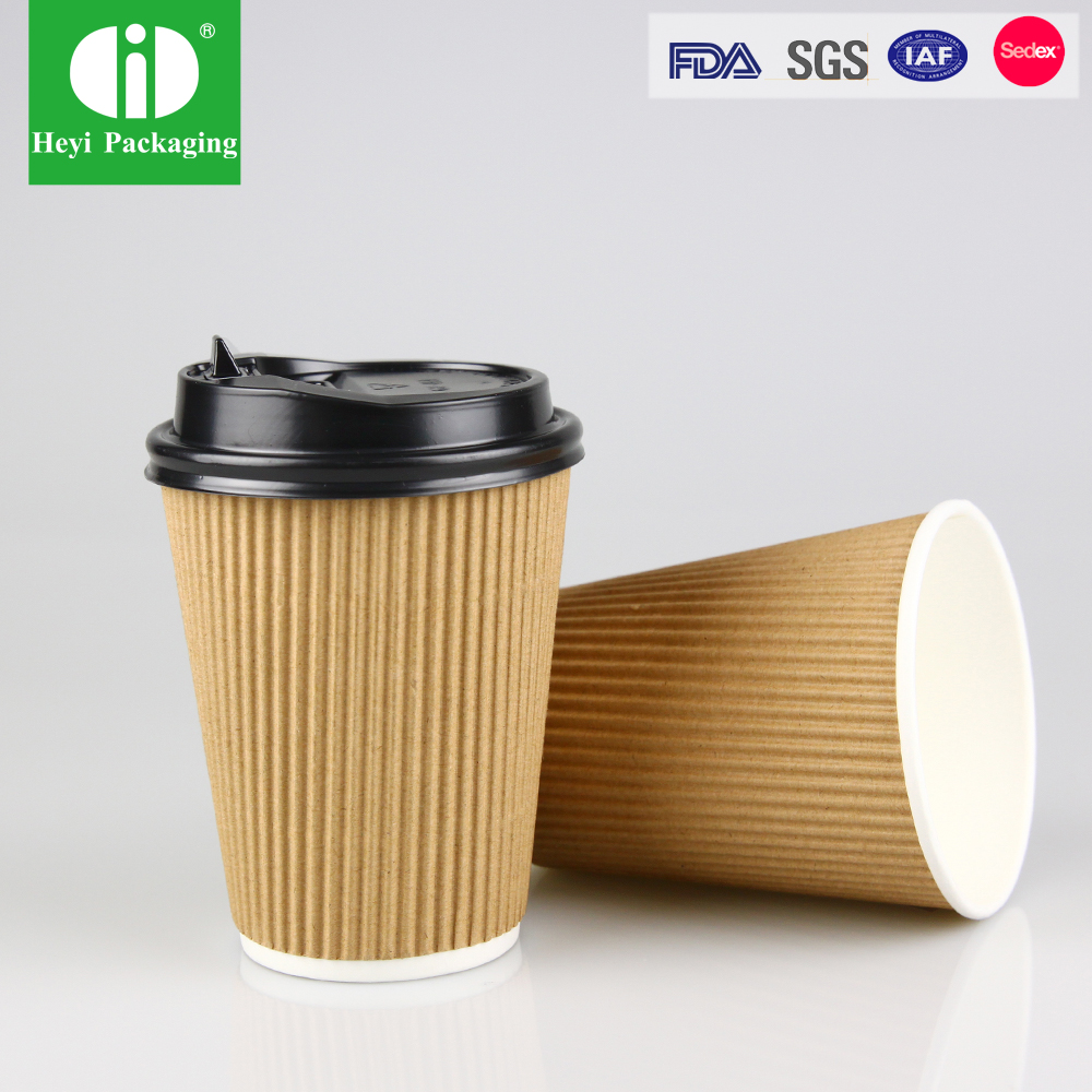 Customized Pla coated cups, disposable eco paper glass with lid
