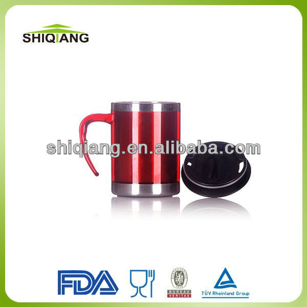 Stainless steel inner plastic outer office mug sublimation made in china