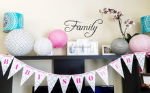 Pink and Grey Girl Baby Shower Decorations Letter Banner, Flag Bunting