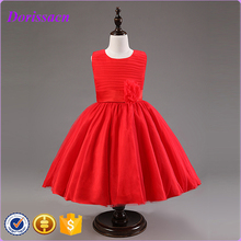 New Red Flower Teenage Girls Party Dresses Princess Waist Butterfly Bow Sleeveless Dresses For Girl Child's Clothing C-11