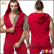 Ecoach high quality sleeveless hoodie t shirt mens sports fitness Gym bodybuilding blank sleeveless hoodies