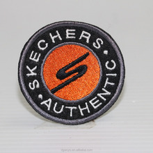 Custom design round serging embroidery band logo woven iron on patch for garments
