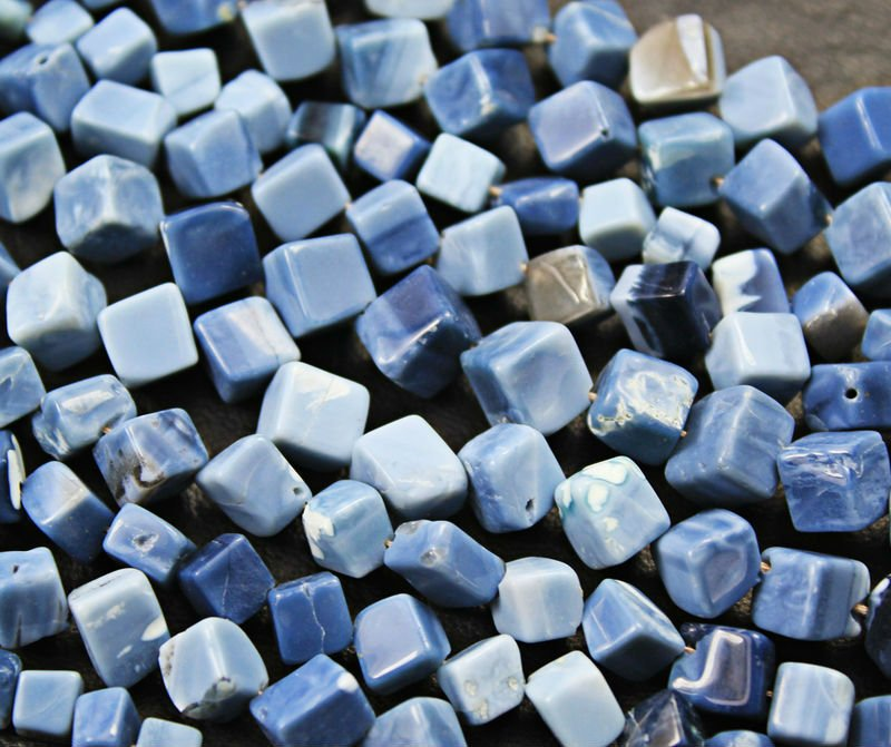 5 x14 Inches 9-10mm Natural Blue Opal Plain Square Cube Side Drilled Beads Strand
