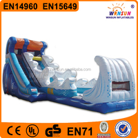 China WINSUN UL GS EN14960 PVC Blue Ocean theme monster wave inflatable water slide