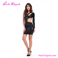 Special Black Hollow Waist Singel Sleeve Mature Women Latex Sexy Leather Lingerie