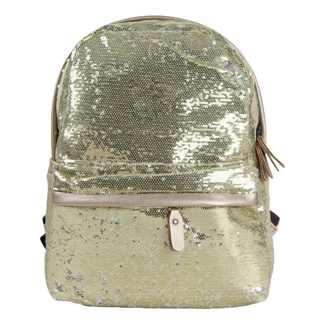 BSCI SEDEX Factory gold sequin backpack school bag for women