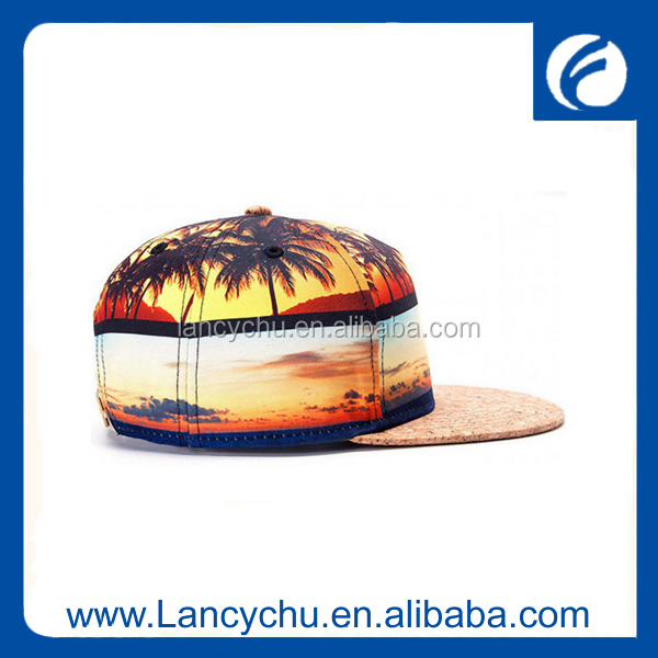 Leather Wood Pattern Brim Hat Cork Leather Snapback Hat With Hawaii Print