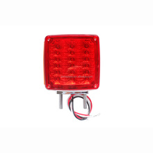 Truck/Trailer Square Double Face LED Stop Turn Pedestal Light with Marker Clearance Light, 39 Flux LEDs