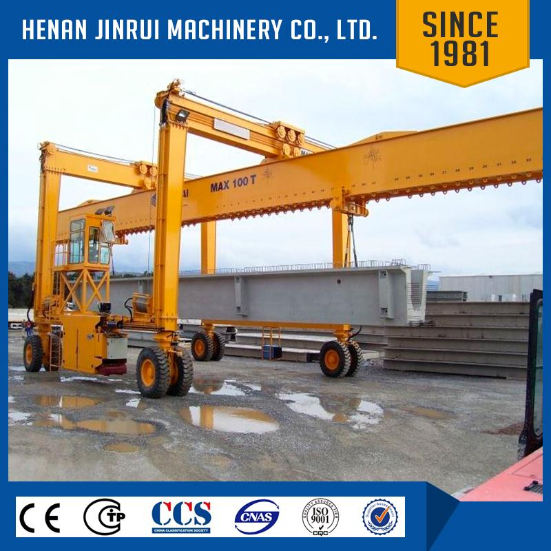 Lifting And Moving Concrete Precast Bridge Girder Rubber Tire Gantry Crane Straddle Carrier Manufacture
