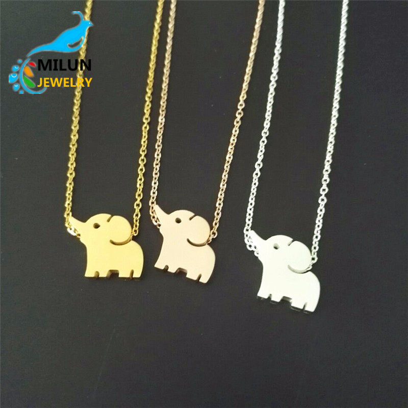 <strong>Silver</strong> / Gold / Rose Gold Plated Zinc Alloy Lucky Elephant Animal Pendant Necklace women