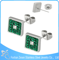 ZS20317 stainless steel green crystal stud earrings middle big square stones earring