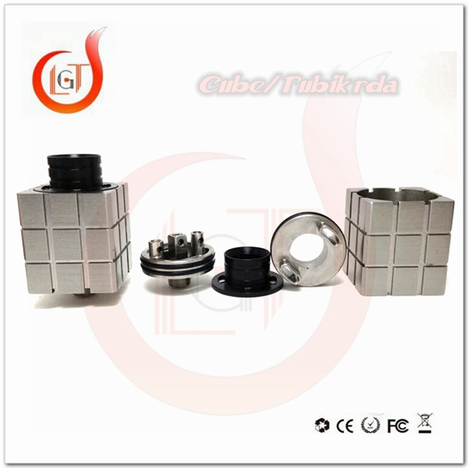 Magic cube rda design of on alibaba e cigarette, health food grade vaporizer rubik rda 22mm square type for box mod vap