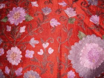 Raw Silk (Silk Dupion) Fabric With Staple Embroidery