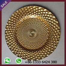 Wholesale glass gold charger plate for wedding