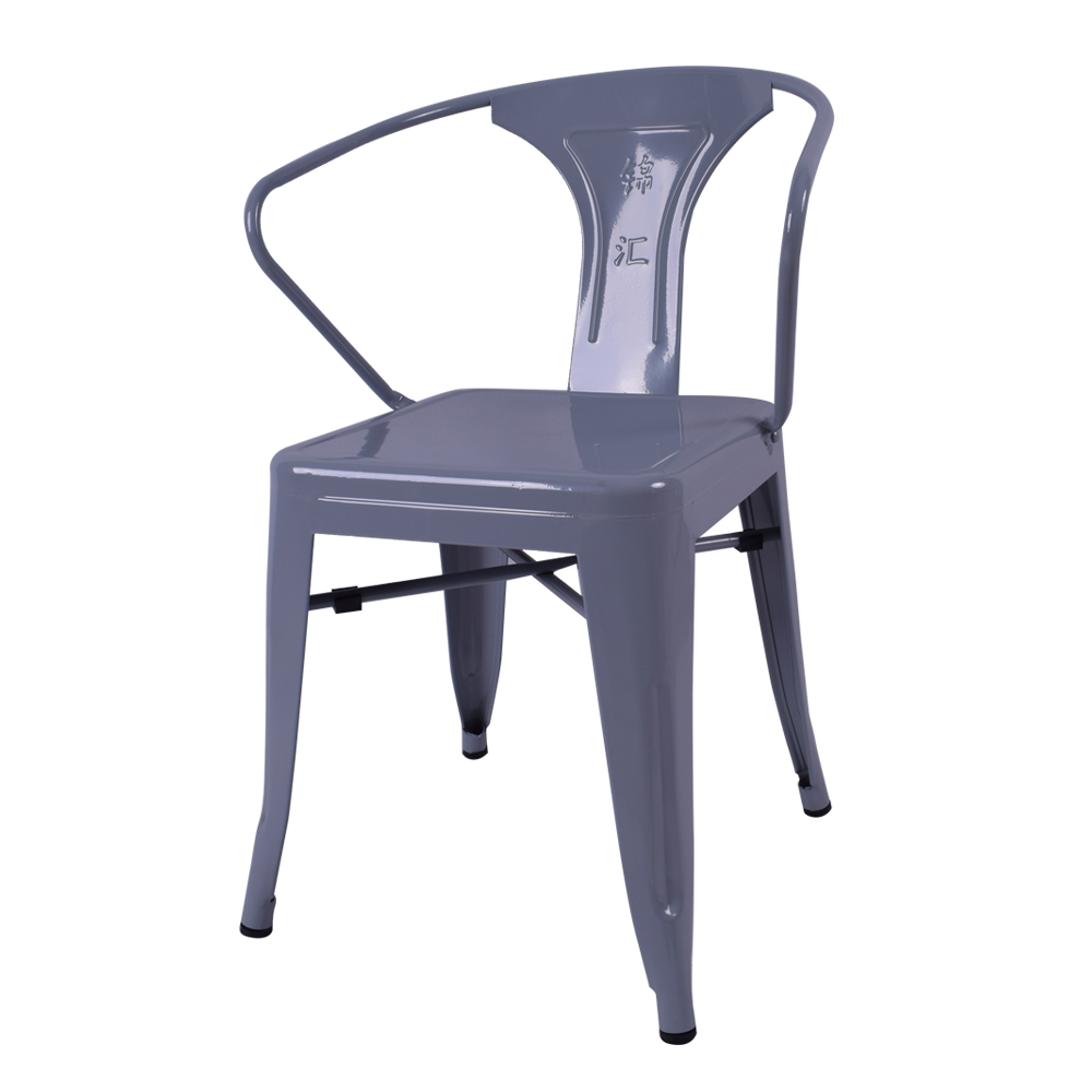 High quality Glossy Metal Dining Chairs industrial steel armchair modern restaurant chair