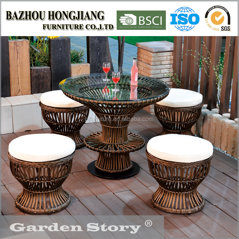 1728DT Outdoor Furniture Tempered Glass Dining Table Set
