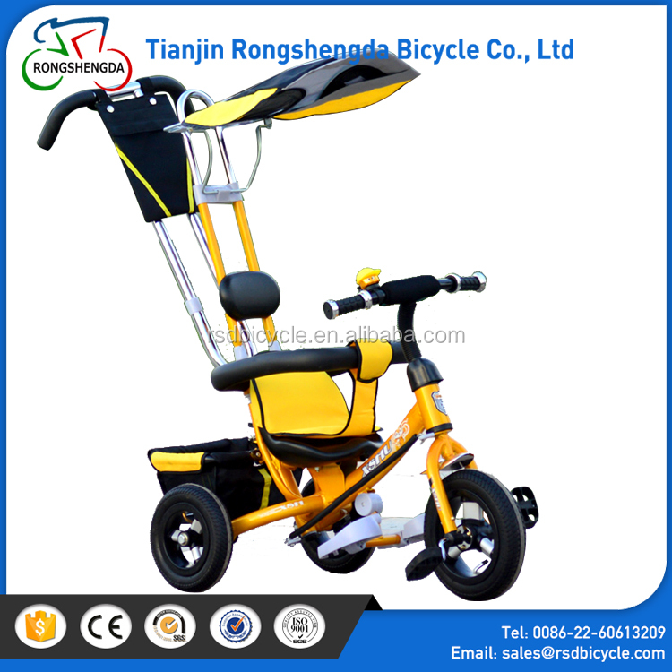 Wholesale baby tricycle with push handbar/baby ride on toy 3wheel bikes cycling for toddlers/metal frame toddler trikes for sale