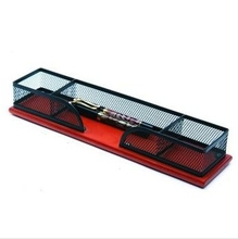 Wood Base Metal Mesh Desk Organizer HT-9208