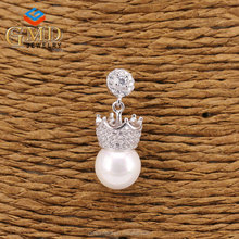 China wholesale merchandise hot sale elegant cz stone crown shaped earrings