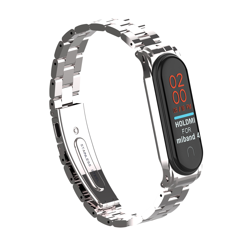 ODM Hold mi new 43027 series silver solid stainless steel miband 4 strap for xiaomi mi band 4