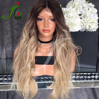 Brazilian Virgin Black T27# Two Tone Lace Front Wig Body Wave Ombre Full Lace Wig Glueless Dark Roots Human Hair Blonde Wigs