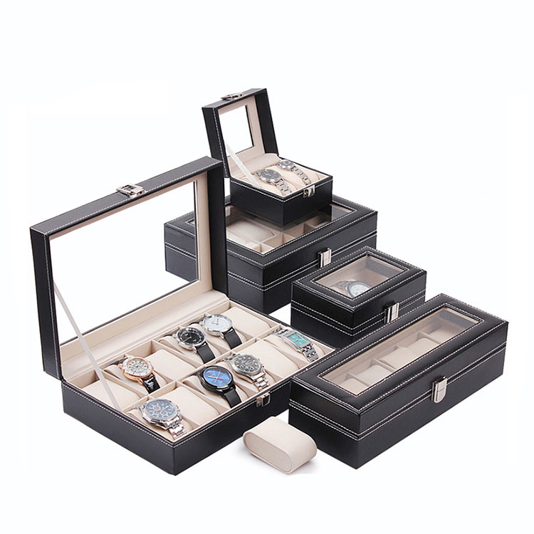 10,12,6,20 Watch box Glass Top Letherette Display Storage Case Box,accept small quantity