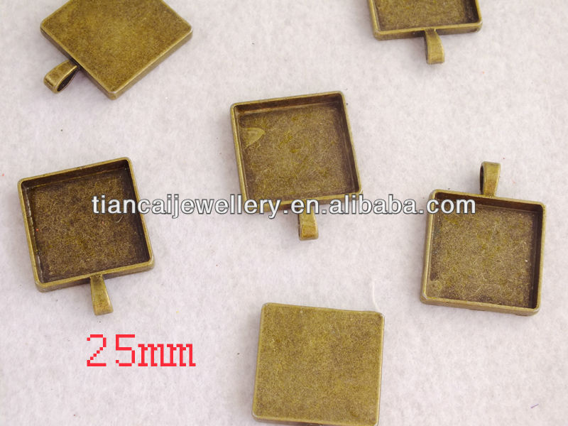 25mm Square Bronze Pendant Tray $80.56/200pcs