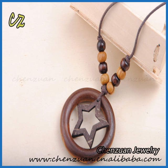 Vintage European style custom design wood beads pendant necklaces for men