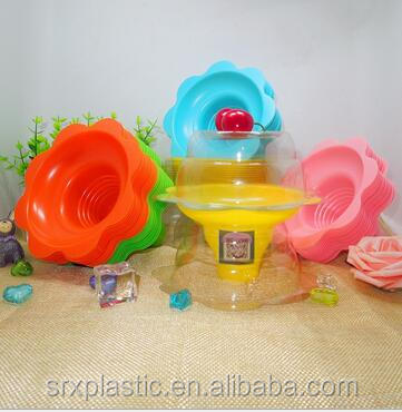 custom oem Aqua Blue orange pink clear Snow Cone Flower Cups in factory price