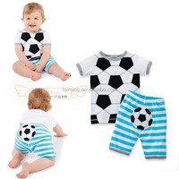 boys summer football pint t-shirt clothes suit